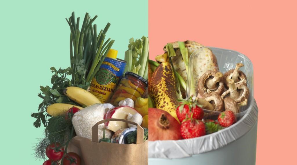 Shopping bag full of fresh fruit and vegetables